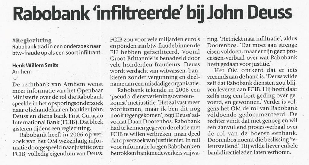 Rabobank infiltreerde bij John Deuss (De Pers 21-12-2011)