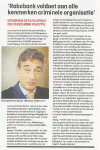 Rabobank voldoet aan alle kenmerken criminele organisatie (Elsevier 1-2-2014)