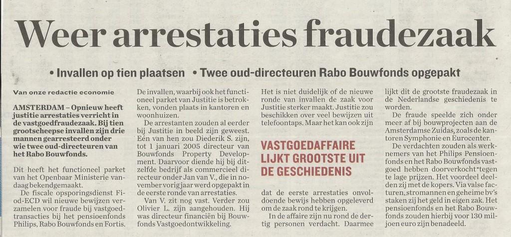 Weer arrestaties fraudezaak (Parool 2-4-2008)