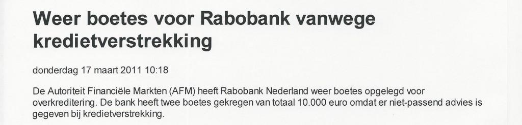 Weer boetes voor Rabobank wegens kredietverstrekking (Elsevier
